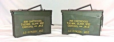 US Military Surplus LOT of 2 Ammo Cans 7.62 30 cal M19A1 Airtight Steel 10x3.5x7