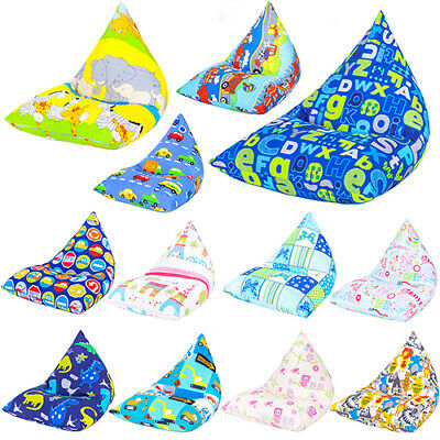 Children's Pyramid Shape Bean Bag Chair Gaming Large Kids Beanbag Gamer Highback