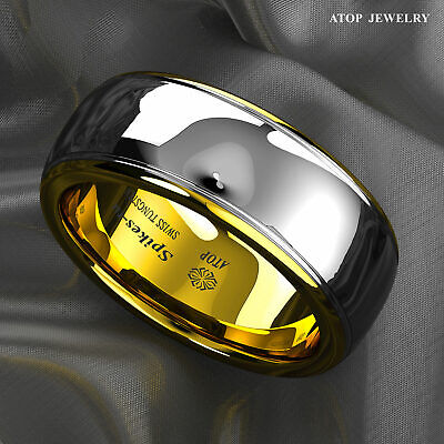 8mm Dome 14K Gold Mens Tungsten Ring Wedding Band Bridal Jewelry Size 6-13