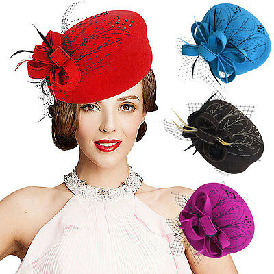 Embroidered Womens Veil Netting Wool Felt Fascinator Pillbox Hat Party Show A140