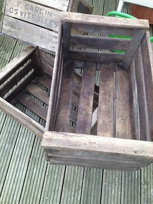 6 X Original Vintage French Wooden Farm Apple Fruit Crate Bushell Box Antique