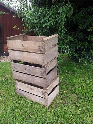 "Stacking Vintage Wood ""Pre War"" Apple Crate Rustic Old Bushel Box Shabby Chic"