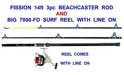 SEA FISHING COMBO 14ft GRANDESLAM 3pc CARBON BEACHCASTER ROD+SILK70 REEL+LINE