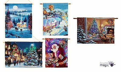 CHRISTMAS XMAS TAPESTRY 90cm X 65cm LED WALL HANGING LIGHTS FIBRE OPTIC TIMER