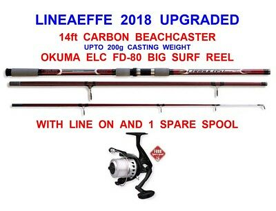 SEA FISHING COMBO 14ft GRANDESLAM 3pc CARBON BEACHCASTER ROD+OKUMA 80 REEL+LINE