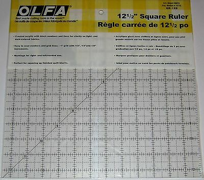 """OLFA Non Slip Frosted Acrylic Quilting Ruler 12"""" x 12"""" Fabric Paper QR-12S"""