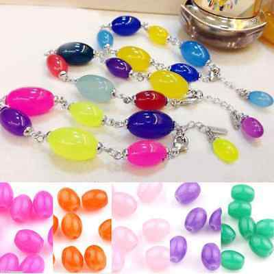 20/50PCS Clear Glass Jade Jelly Color Oval Loose Spacer Beads Bracelet DIY 8x6mm