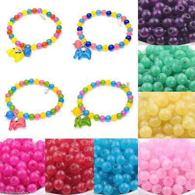 50/200PCS Glass Jade Round Loose Spacer Beads Bracelet DIY Jewelry Findings 6mm