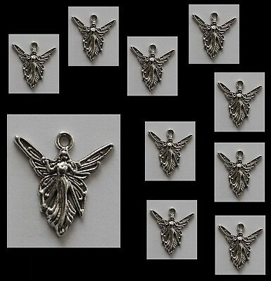 METAL CHARM #815 x 10 LITTLE FAIRY silver 20mm for necklace, earrings, crafts