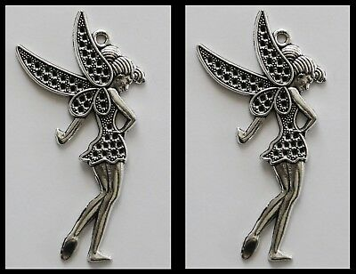METAL CHARM #848 x 2 FAIRY silver LARGE 70mm for suncatcher, necklace, keyring