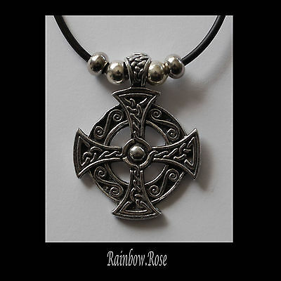 Choker #359 Pewter CELTIC CROSS CIRCLE (37mm x 29mm) Silver Tone Rubber Necklace