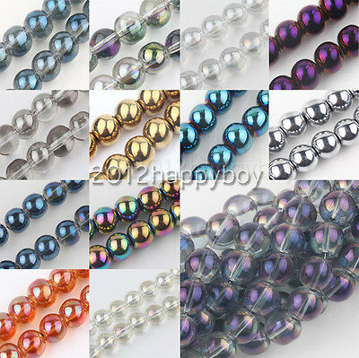 Wholesale 50/100PCS SmoothCrystal Spacer Loose Round Beads 6mm Jewelry Making