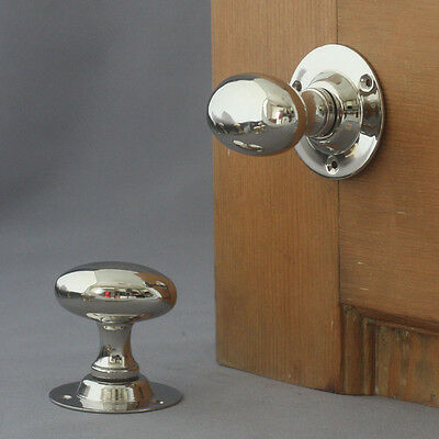 Edwardian Nickel Oval Door Knobs
