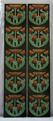 Tube Lined Art Nouveau Style Repeating Tulip Fireplace Tiles