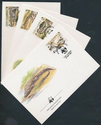 Gambia stamp WWF: Nile crocodile set on 4 FDC 1984 Mi 517-520 WS177499