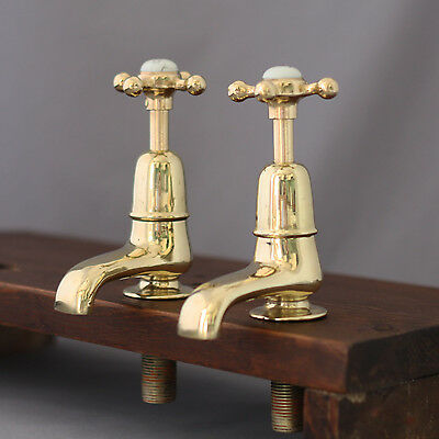 Pair 1900's Vintage Brass Basin Taps