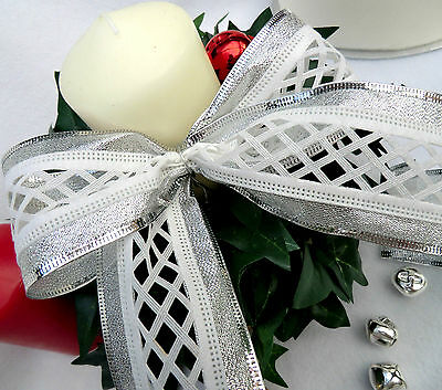 1m x 65mm LUXURY SILVER & WHITE WIRED CHRISTMAS RIBBON CAKES, FLORAL, BRIDAL