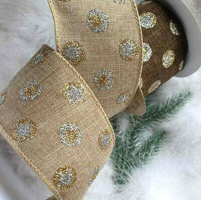 1m 63mm LUXURY NATURAL HESSIAN JUTE LOOK + GLITTER SPOTS WIRED RIBBON,CHRISTMAS