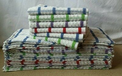 12 x SUPER JUMBO TEA TOWELS 100% COTTON EXTRA ABSORBENT CATERING QUALITY