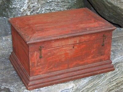 Antique Primitive Chest Original Red & Green Paint Small Trunk Box