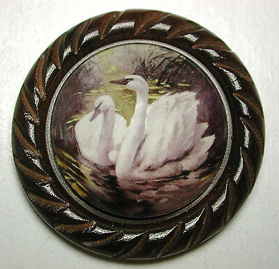 "Large Glass Dome Button Set in Carved Wood - 2 Swans 1 & 5/8"" FREE US SHIP"