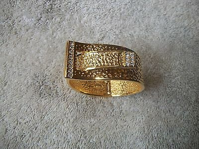 KENNETH J LANE Bracelet Hammered Goldtone Crystal Wide Buckle Hinged Bangle New