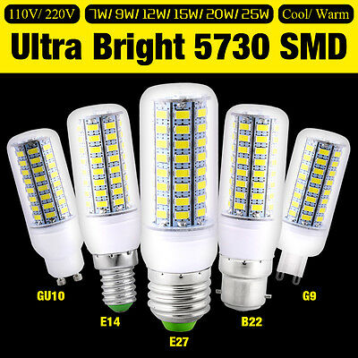 E27 GU10 B22 E14 G9 LED Lights Lamp 5730SMD Bright Corn Energysaving Bulb 7-25W