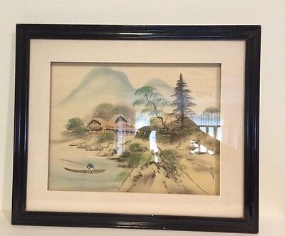 Chinese Japanese Silk Painting Signed Mountain Village