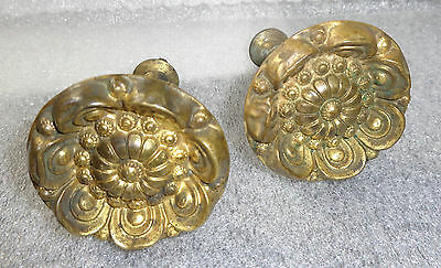 fine pair antique embossed brass curtain tie backs