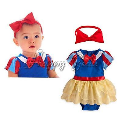 Snow White Princess Dress Girls Baby Party Romper Costume Headband Fancy Clothes