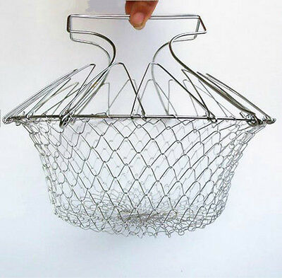 Chef Strain Fry Frying Basket Strainer Foldable Washable Kitchen Tool