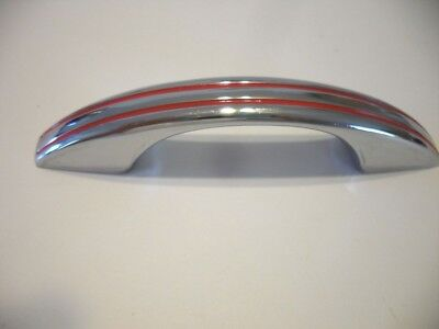 Vintage 50's CHROME DRAWER or Cabinet DOOR Pulls RED Lines Handles National Lock