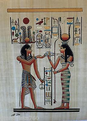 """NEW HAND PAINTED EGYPTIAN PAINTING ON PAPYRUS 12""""x16"""" A75"""