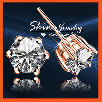 18K Rose Gold Gf Solitaire Simulated Diamond  Solid Mens Lady Kids Stud Earrings