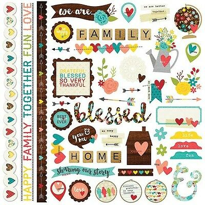 Simple Stories We Are Family Collection 12 x 12 Cardstock Stickers Fundamentals