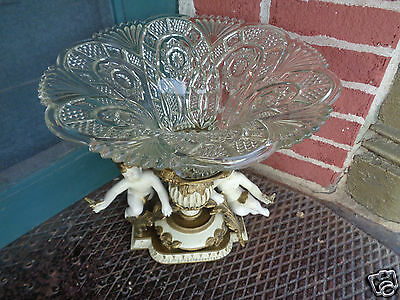 Vintage Hollywood Regency French Style Figural Cherub Centerpiece Bowl Pedestal