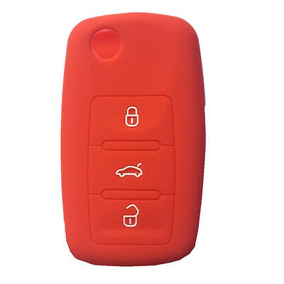 Red Silicone Key Cover Holder Key Fob Case fit for volkswagen Golf Passat Beetle
