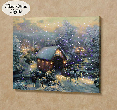 Winter Evening Memories Fiber Optic Canvas Wall Hanging w/Remote ~Thomas Kinkade