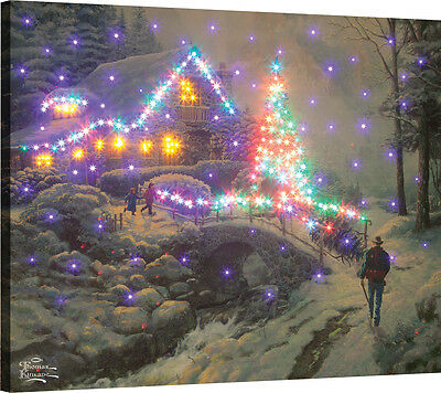 Bringing Home The Tree Fiber Optic Canvas Wall Hanging w/Remote ~Thomas Kinkade