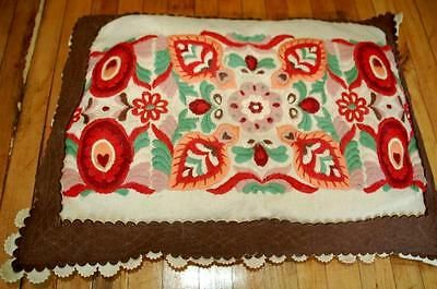 Charming antique pillow hand embroidered Arts & Crafts Mission era VG RARE