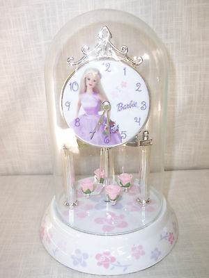 Barbie Glass Globe Covered Clock Pink Purple Floral