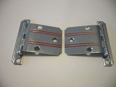 "Vintage NOS CHROME Cabinet HINGES RED Lines Stripes & Stepped Edges 3/8"" Offset"