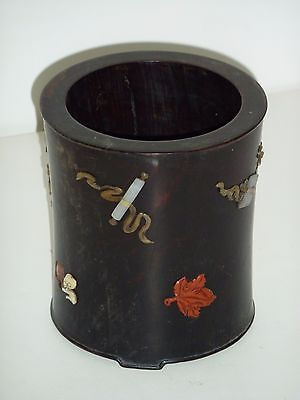 Chinese Picture Inlaid Wood Brush Holder with Nephrite Jade, Coral, Mother Pearl