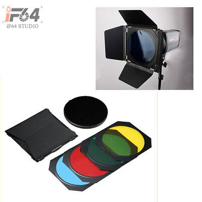 4 Color Barn Door + Honeycomb for Photography Flash Studio Flash Bowens Mount