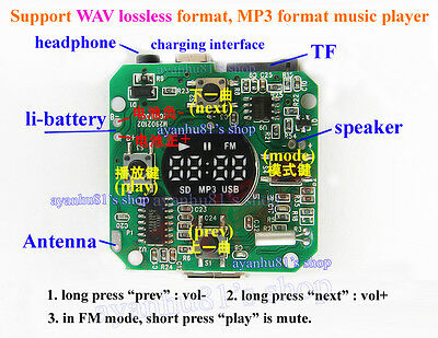 DC 3.7-5V USB SD/TF WAV MP3 Decoder 5W Amplifier Board FM Radio Remote Control