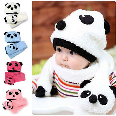 Panda Hat+ Scarf Baby Kid Boy Girl Infant Newborn Toddler Warm Beanie Cap 1-5Y