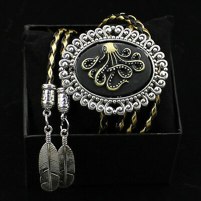 Gothic Octopus Bolo Tie Bola Ties Leather Belt Necktie Necklace Special Gift