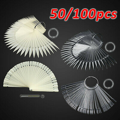 50 PCS Nail Art Tips Colors Sticks Display Fan Clear White False Practice kit