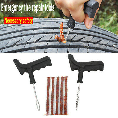 Car Van Motorbike Tubeless Tyre Puncture Repair Tool Kit Tire Plug Auto 5 Strip