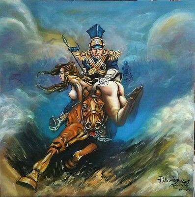 Frazetta style painting Flashman on charge oil on wood panel 24 x 24x0.5 inches